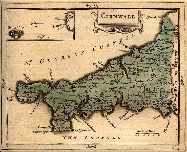 Ancient Map Of Cornwall In 1783